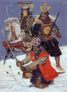 """Samurai commanders in Korea (1593)"", Richard Hook Above: Kuroda Nagamasa and Kikkawa Hiroie Below: Kobayakawa Takakage"