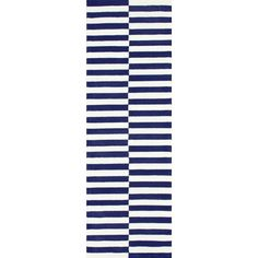 nuLOOM Handmade Modern Lines Navy Cotton Runner Rug (2'6 x 8')