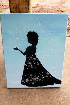 Queen Elsa painting // light blue background // by colorsoncanvas, $35.00