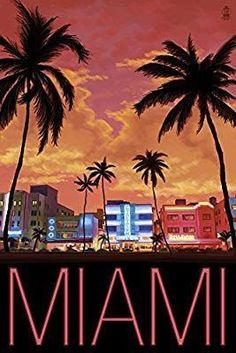 South Beach Miami, Florida - Lantern Press Artwork Quality Poster Prints Printed in the USA on heavy stock paper Crisp vibrant color image that is resistant to fading Standard size print, ready for framing Perfect for your home, office, or a gift Poster Retro, Poster Art, Kunst Poster, South Beach Miami, Miami Florida, Miami Beach Nightlife, Florida Palm Trees, South Florida, Artist Canvas
