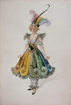 Costume design for the Eccentric Dress for Adeline Genée in the ballet The Pretty Prentice, designed by William John Charles Pitcher (1858-1925). Watercolour. London, England, 1916.