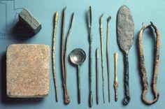 Surgical instruments, various dates within Roman period, Roman / Verulamium Museum, St.Albans, Hertfordshire, UK / The Bridgeman Art Library
