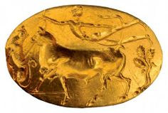 Gold Mycenaean seal ring. 2nd half of the 15th century BC. National Archaeological Museum, Athens.