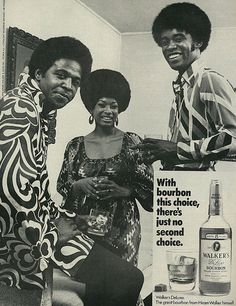 1970 Liquor Ad, Hiram Walker Deluxe Bourbon Whiskey, Fashionable 70's Party
