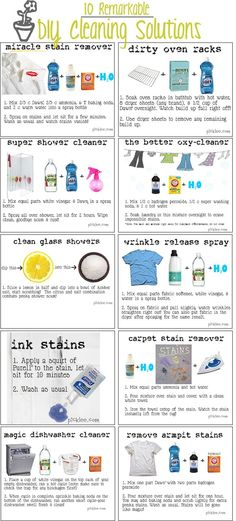 10 remarkable DIY cleaning solutions: miracle stain remover, dirty oven racks, super shower cleaner, the better oxy-cleaner, clean glass showers. Cleaners Homemade, Diy Cleaners, Homemade Oven Cleaner, Homemade Jewelry Cleaner, Steam Cleaners, Household Cleaners, Household Tips, Household Products, Diy Products