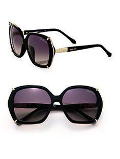 Roberto Cavalli - 59MM Acetate & Metal Oversized Square Sunglasses