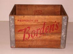 old vintage 1950s Bordens wood & metal wooden milk crate box...this would make and excellent planter!