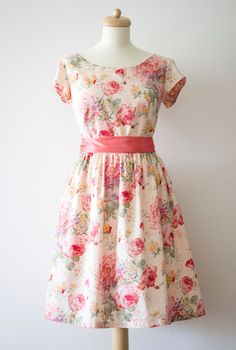 This Etsy shop is full of great cotton floral dresses!  I think this is a great idea.  Vintage inspired bridesmaid dress  English by Mokkafiveoclock, $95.00