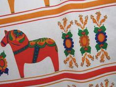 "Large Vtg Cotton SWEDEN Fabric DALA HORSE Panels Pillows Runner Tablecloth 52""W"