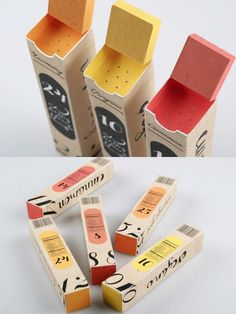 Love the idea of little compartments at the top of the box - Spices Packaging - #design #packaging