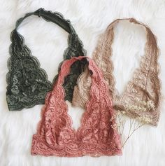 New Cora Bralette colors online now ✨ Olive, Tan, & Rose shop them at Frankie-Phoenix.com✨ #frankiephoenix #bralettes #halter #floral #casual #lace #fall #outfits