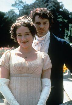 Jennifer Ehle as Elizabeth Bennet and Colin Firth as Mr. Darcy inPride and Prejudice  (1995).