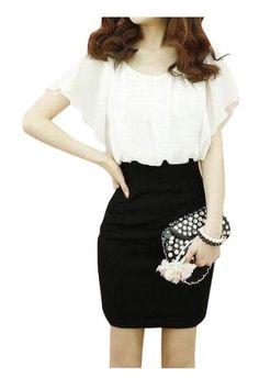 Amazon.co.jp: FrontStage ファッションショップ・ウエスト切り替え・フリルシフォン袖・OLワンピ・白×黒出品中: 服&ファッション小物通販