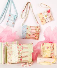 Patterns.  Make all 5 bags from one jelly roll.