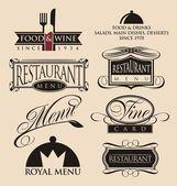 Vintage conjunto de señales en los restaurantes, símbolos, elementos del logotipo y los iconos — Archivo Imágenes Vectoriales