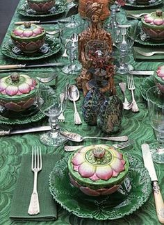 Tony Duquette tablescape Malachite