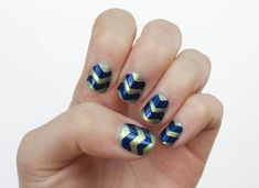 Brilliant chevron striped nail tutorial using zigzag scissors and tape