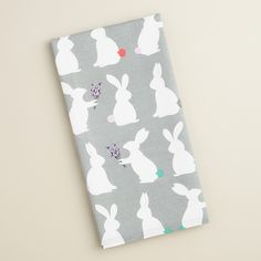 Sweet and witty, our cotton dish towel features bunny silhouettes ready for spring with sprigs of lavender and brightly hued tails. >> #WorldMarket Easter