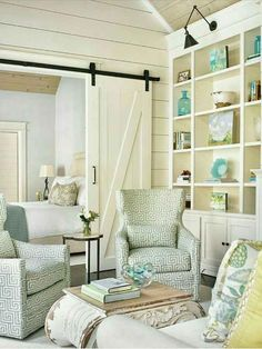 House of Turquoise: Tillman Long Interiors. Bright and airy living room with turquoise decor. Definitely doing this in my new house! House Design, House, Interior, Home, Cottage Decor, House Styles, House Interior, Interior Design, Cottage Living