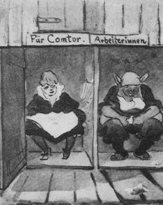 Zille, Heinrich: Soziale Standesunterschiede auch beim Sitzen  Entstehungsjahr:1916 Technik:Tuschezeichnung
