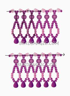 Free pattern for beaded necklace FUKSIA | Beads Magic. Use: seed beads 11/0 or 15/0, gemstone chips, round beads 4-6mm, drop beads. Page 2 of 2