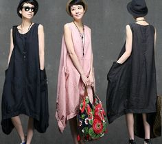 Maxi Dress - Summer Dress - 3 colors big pocket Linen Sundress for Women-Sleeveless (121)