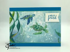 Stampin' Up! Whale of a Time Turtles for the Happy Inkin' Thursday Blog Hop | Stamp With Sue Prather Turtle Images, Hello Design, Nautical Cards, Beach Cards, Hand Stamped Cards, Animal Cards, Card Sketches, Kids Cards, Homemade Cards