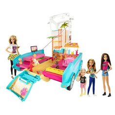 #Barbie, her sisters, and their four adorable puppies go on a fun adventure! The Ultimate Puppy Mobile transforms from a sporty SUV to a deluxe island-inspired p...