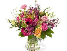 Boeket. Dank je.  Vrolijk bedankboeket, van gerbera, rozen, waxflower, eustoma...