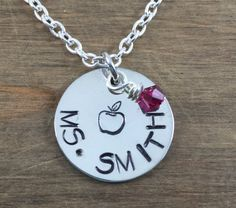 Personalized Teacher Name Necklace  Hand by SunflowerShadows