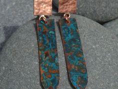 Copper earrings with a Azure Patina Copper Earrings, Wander, Silver, Money