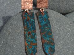 Copper earrings with a Azure Patina