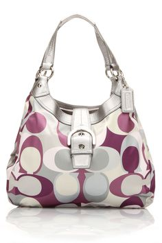Coach Monogram Front Buckle Shoulder Bag In Gray And Purple