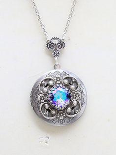 Ametista collana medaglione medaglione d'argento di emmalocketshop