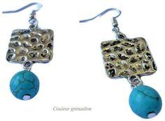 Boucles d'oreilles ethniques turquoise : Boucles d'oreille par couleur-grenadine33