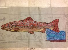 """Trout - hooked by Kris Miller   Pattern designed by (c) Keith Kemmer   monks: $70.00   linen: $86.00   dimensions: 54"""" x 20""""     I hoo..."""