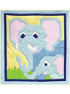 Crib Quilt Patterns and Kids Bed Quilt Patterns - Page 2 Elephant Quilts Pattern, Bed Quilt Patterns, Applique Patterns, Dog Quilts, Animal Quilts, Quilting Projects, Quilting Designs, Quilt Design, Quilting Ideas