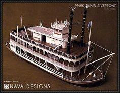 Detailed Mark Twain Riverboat Free Ship Paper Model Download