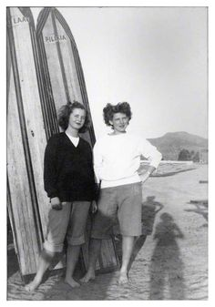women & surfing, this pic is total vintage. But, I can't tell you how many days/nights I spent on the Ca. beaches, board in tow while I'm in a hoodie or sweater LOL And...that's what they really made wetsuits for
