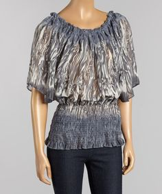 Loving this Gray Abstract Cape Sleeve Top on #zulily! #zulilyfinds