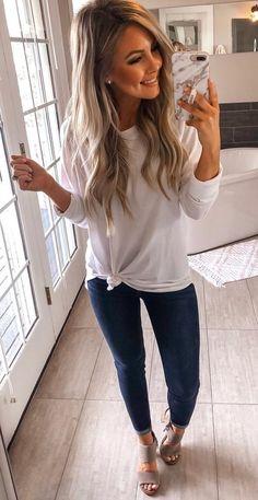 white crew-neck sweatshirt #spring #outfits