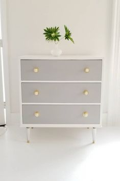 Sold mid century dresser chest chest of drawers vintage modern Bassett painted graywhite and gold painted furniture NJ NYC Gold Painted Furniture, Refurbished Furniture, Colorful Furniture, Shabby Chic Furniture, Furniture Makeover, Metal Furniture, Rustic Furniture, Vintage Furniture, Modern Furniture