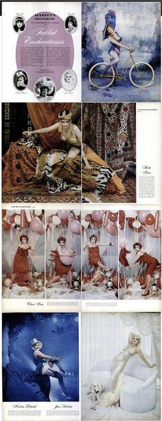 """Marilyn Monroe in an article from LIFE magazine, December 22nd 1958, """"Marilyn Monroe in a re-creation of fabled enchantresses"""", channeling Theda Bara, Lillilan Russell, Marlene Dietrich, Clara Bow and Jean Harlow. Photos by Richard Avedon."""