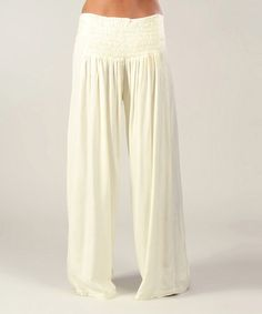 These look so comfy! This Cream Shirred Palazzo Pants by Aller Simplement is perfect! #zulilyfinds