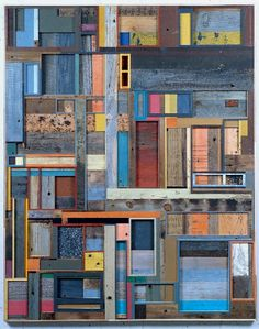 """Working with reclaimed wood that he sources from Vermont, Duncan Johnson crafts striking and surprising compositions embedded with a the sensual texture and intriguing history, from each precisely milled strip of wood. These """"paintings"""" evoke an intriguing use of color and space, causing some compositions to allude to a deeper place, further beyond what's visually apparent on the surface. http://thedrawingroomartgallery.com/duncan-johnson/"""