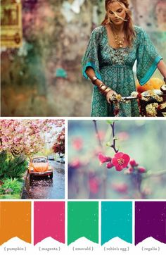 bohemian brights inspiration color pallet. great for a fun colorful wedding! love it? find more at eventdecorator.tumblr.com.