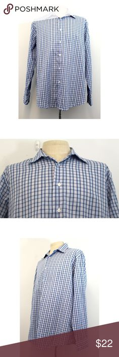 "Club Room Button Shirt Blue XL Plaid Long Sleeve Club Room Men's Blue Plaid Long Sleeve Button Front Casual/Dress Shirt Size: XL Material: Cotton Polyester  Pre-owned in VERY GOOD CONDITION  Please Note: Has some very subtle discoloration on back of sleeve.  Not really noticeable. See pictures for details.  Measurements are taken flat and are approximate. Please compare to your own clothing.  Chest: 27"" Waist: 26.5"" Hips: 26.5"" Sleeve Length: 26"" Shoulder to Shoulder: 21"" Length Shoulder to…"