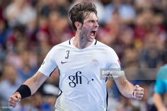 Uwe Gensheimer of Paris celebrates his goal during the VELUX EHF FINAL4 Semi Final match between Telekom Veszprem and Paris Saint-Germain Handball at Lanxess Arena on June 3, 2017 in Cologne, Germany.