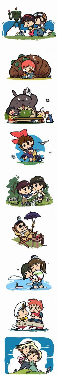 Chibby Ghibli characters i love ghibli movies (^.^)