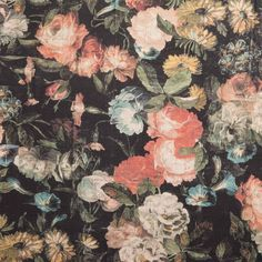 Taking its inspiration from the Dutch Masters, MIDNIGHT GARDEN is a darkly romantic floral print depicting a country garden at night. Originally paint...